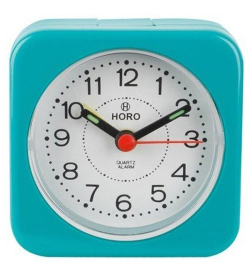 Sky Blue Plastic 2.5 x 2.5 x 1.2 Inch Alarm Clocks  by Horo
