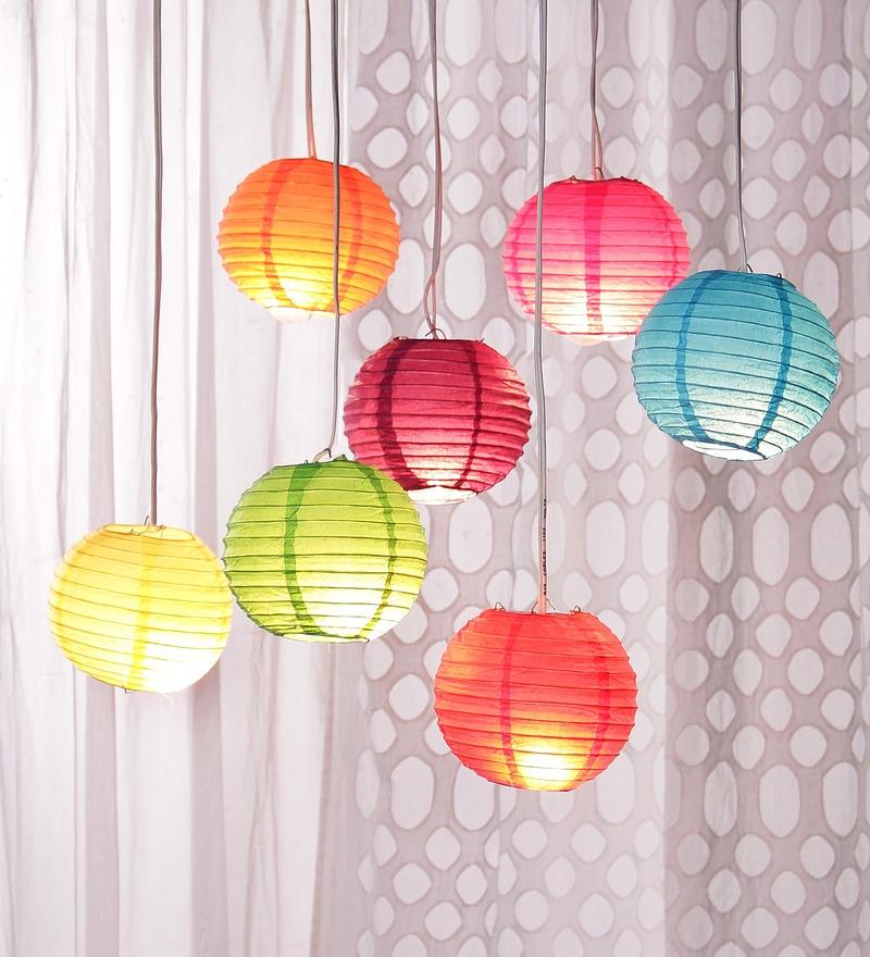 Multicolour Globular Paper Diwali Lantern - Set of 7 by Skycandle