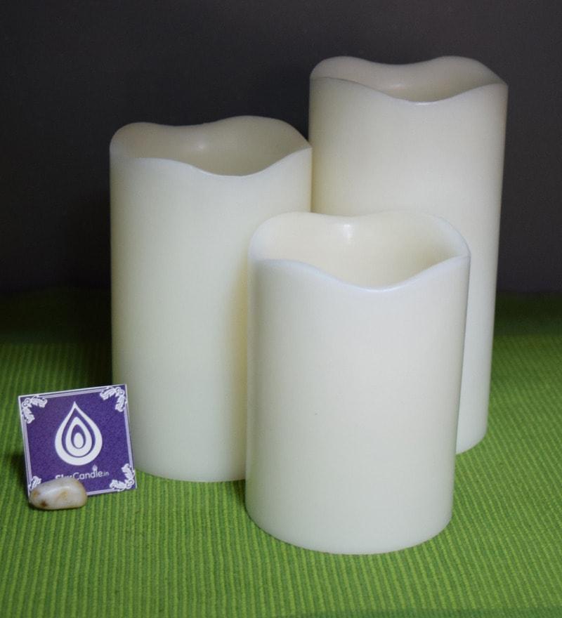 White Plastic LED Pillar Candle - Set of 3 by Skycandle