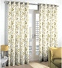 Skipper Beige Polyester & Cotton Floral Window Curtain - Set of 2