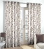 Skipper Beige Viscose & Linen Nature & Floral Window Curtain - Set of 2