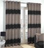 Brown & Black Polyester & Cotton Waves Pattern Window Curtain - Set of 2 by Skipper