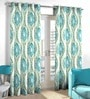 Skipper Blue & Golden Viscose & Polyester Abstract Window Curtain - Set of 2