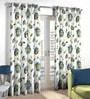 Skipper Blue & Green Polyester & Cotton Flower Design Window Curtain - Set of 2