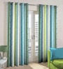 Skipper Blue & Green Polyester & Viscose Stripes Window Curtain - Set of 2