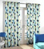 Skipper Blue & Green Polyester & Viscose Triangles Pattern Window Curtain - Set of 2