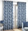 Skipper Blue Polyester Floral Pattern Window Curtain - Set of 2