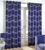 Skipper Blue Viscose & Polyester Abstract Pattern Window Curtain - Set of 2