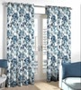 Skipper Blue Polyester & Viscose Leafy Flower Design Window Curtain - Set of 2