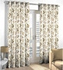 Skipper Brown Polyester & Cotton Floral Window Curtain - Set of 2
