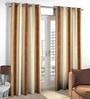 Skipper Brown Cotton & Viscose Abstract Stripe Pattern Window Curtain - Set of 2