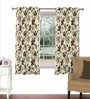 Brown Viscose & Polyester 44 x 60 Inch Eyelet Window Curtain (Model No: 090013) by Skipper