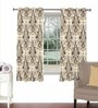Brown Viscose & Polyester 44 x 60 Inch Eyelet Window Curtain (Model No: 092287) by Skipper