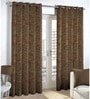 Skipper Brown Viscose & Polyester Abstract Pattern Window Curtain - Set of 2