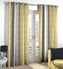 Grey & Green Polyester & Viscose Stripes Window Curtain - Set of 2 by Skipper