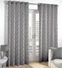 Skipper Grey Polyester & Cotton Geometric Pattern Window Curtain - Set of 2