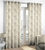 Grey Viscose & Polyester Abstract Pattern Window Curtain - Set of 2 by Skipper