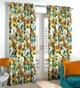 Skipper Grey & Orange Polyester Floral Pattern Window Curtain - Set of 2