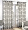 Skipper Grey Viscose & Polyester Abstract Pattern Window Curtain - Set of 2