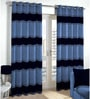 Skipper Blue & Black Polyester & Cotton Waves Pattern Window Curtain - Set of 2