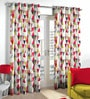 Skipper Multicolour Polyester & Viscose Triangles Pattern Window Curtain - Set of 2