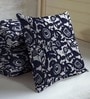 Navy Blue Viscose & Polyester 16 x 16 Inch Floral Cushion Covers - Set of 3 by Skipper
