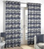 Skipper Navy Blue Viscose & Polyester Abstract Pattern Window Curtain - Set of 2