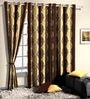 Brown Poly Cotton Ethnic Window Curtain - Set of 2 by Skipper
