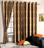 Orange Poly Cotton Floral Window Curtain - Set of 2 by Skipper