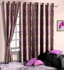 Skipper Purple Poly Cotton Floral Window Curtain - Set of 2