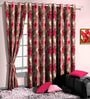 Skipper Red Poly Cotton Floral Window Curtain - Set of 2