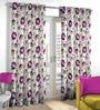 Skipper Purple & Green Polyester & Cotton Flower Design Window Curtain - Set of 2