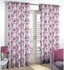 Skipper Purple Polyester & Cotton Floral & Nature Window Curtain - Set of 2