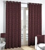 Purple Viscose & Polyester Abstract Pattern Window Curtain - Set of 2 by Skipper