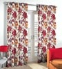 Skipper Purple Polyester & Viscose Leafy Flower Design Window Curtain - Set of 2