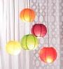 Multicolour Globular Paper Lantern - Set of 5 by Skycandle
