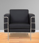 Sleek One Seater Sofa with Artificial Leather Upholstery in Black Coolour