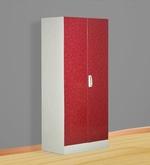 Slimline Two Door Wardrobe with Locker in Red Color