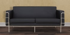 Sleek Three Seater Sofa with Artificial Leather Upholstery in Black Coolour