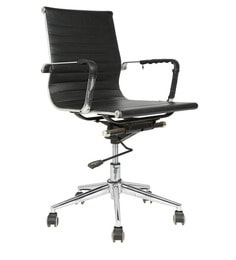 Sleek Design Ergonomic Mid Back Chair in Black Colour by Star India at pepperfry