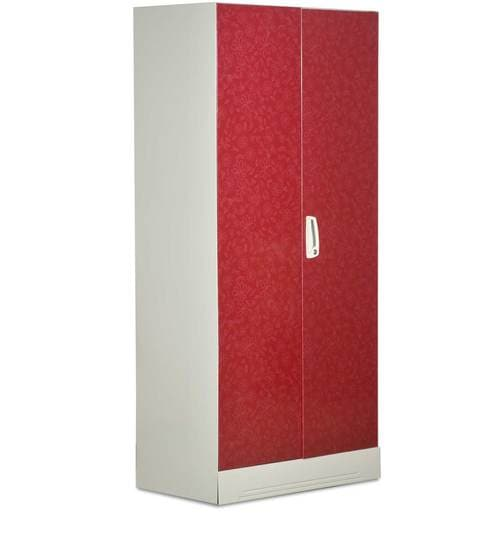 Slimline Two Door Wardrobe With Locker And Drawer In Red Color By Godrej  Interio