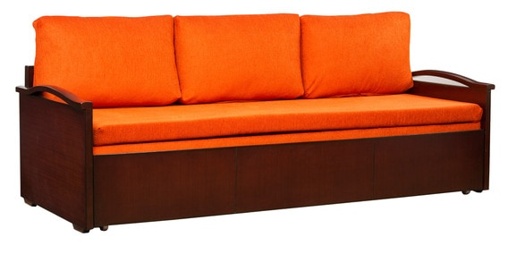 Buy Sleek Sofa Cum Bed with Storage in Sunset Orange Colour by ...