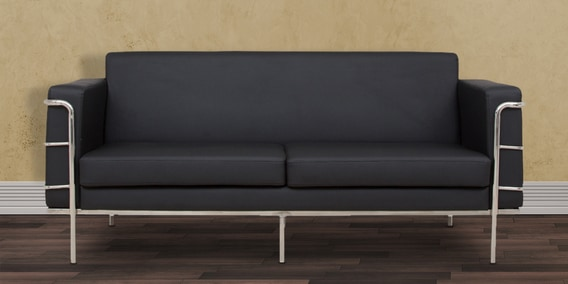 Sleek Three Seater Sofa With Artificial Leather Upholstery Insleek