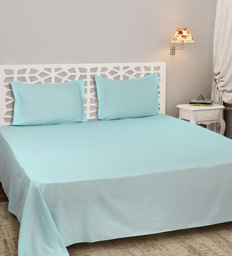 Sky Blue Cotton Satin King Size Self Stripe Bed Sheet Set by Sleep Sure