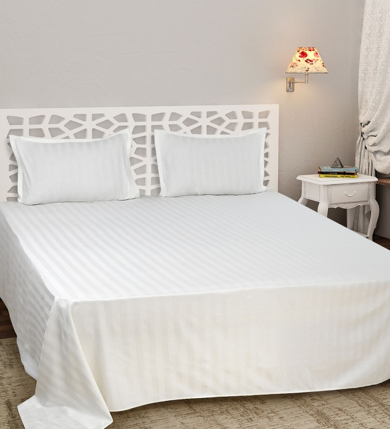 White Cotton Satin King Size Self Stripe Premium Bed Sheet Set by Sleep Sure