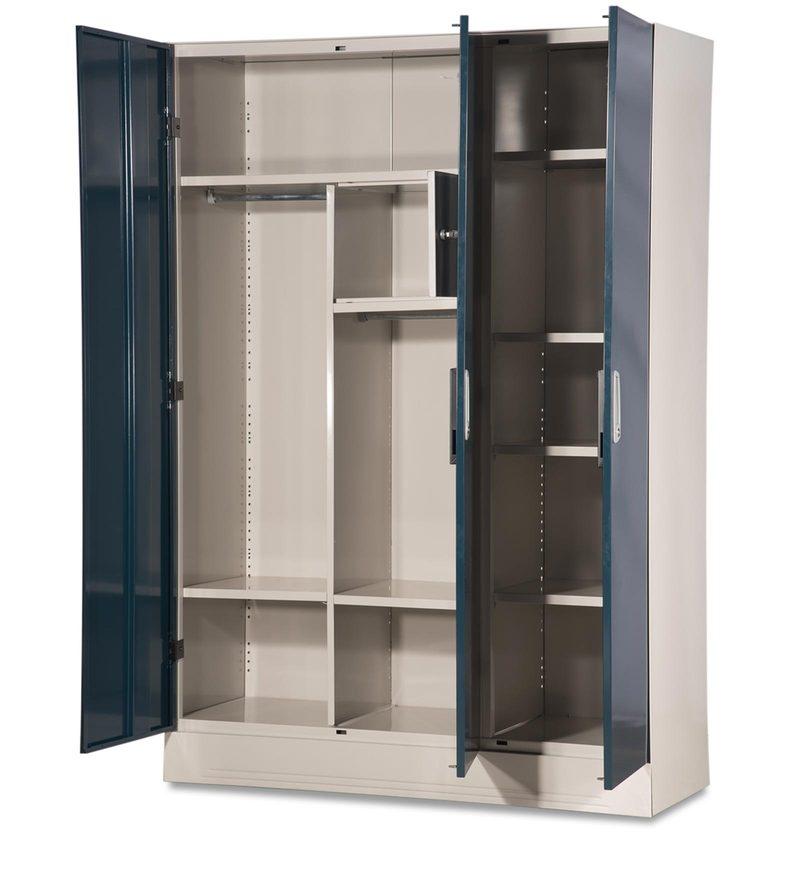 Buy Slimline Three Door Wardrobe With Locker In Pacific