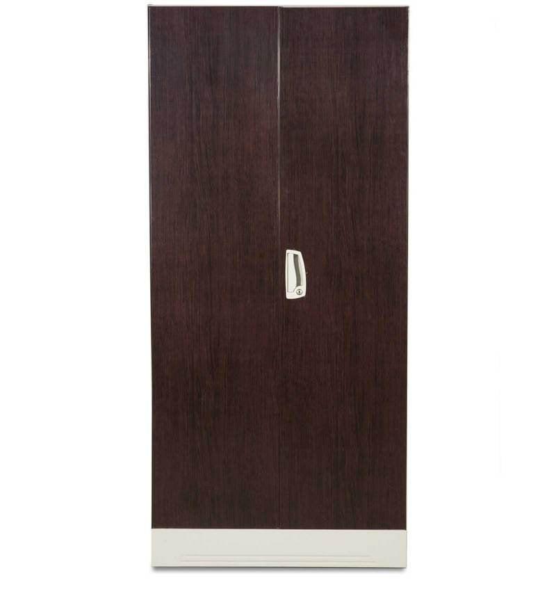 Buy Slimline Two Door Wardrobe With Locker In Dark Wood