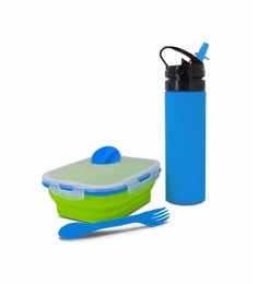 Smart Planet Silicone Collapsible Kids Blue & Green Lunch Box With Eco Squeez Bottle