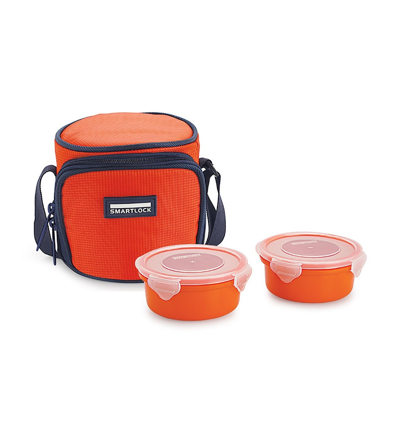 Smart lock  Airtight  Tiffin Box With Insulated Bag Melamine Dark Orange Set Of 2