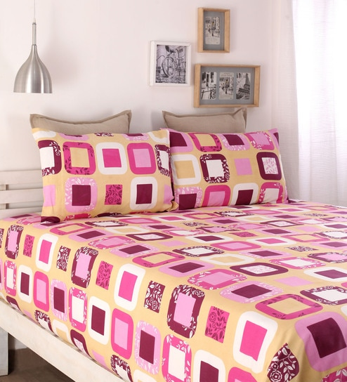 Buy Pink Cotton Queen Size Bed Sheet Set of 3 by Snuggles Online